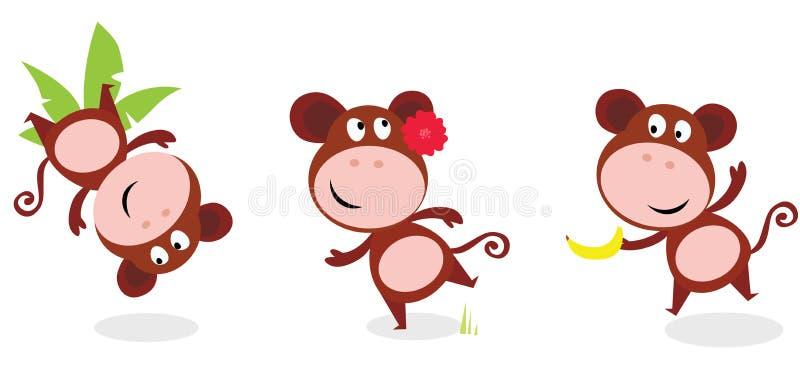 De bruine leuke aap stelt geïsoleerde op wit royalty-vrije illustratie