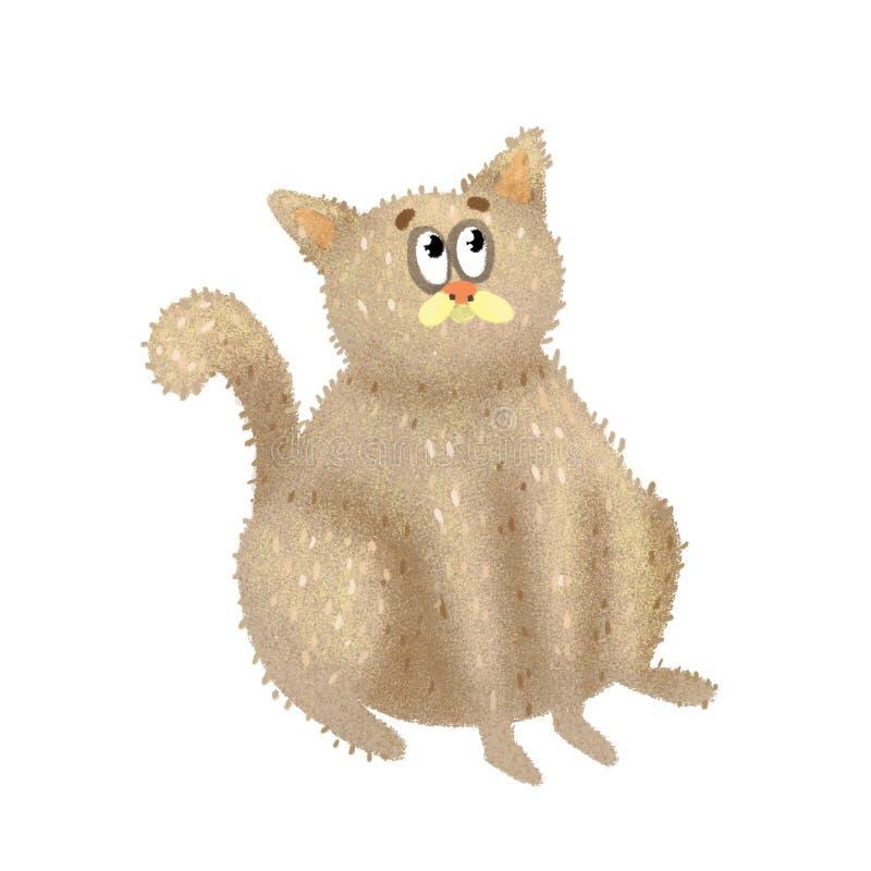 De bruine leuke kat kijkt grappig stock fotografie