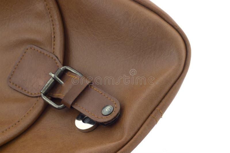 De bruine magnetische zak van het greepleer stock afbeelding