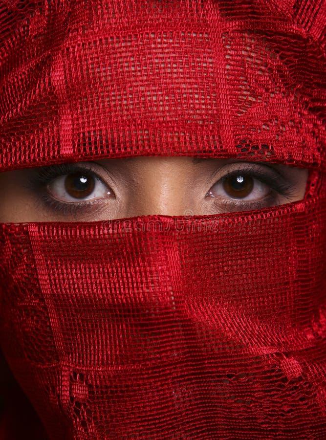 De bruine ogen van Reemie in rood stock afbeelding