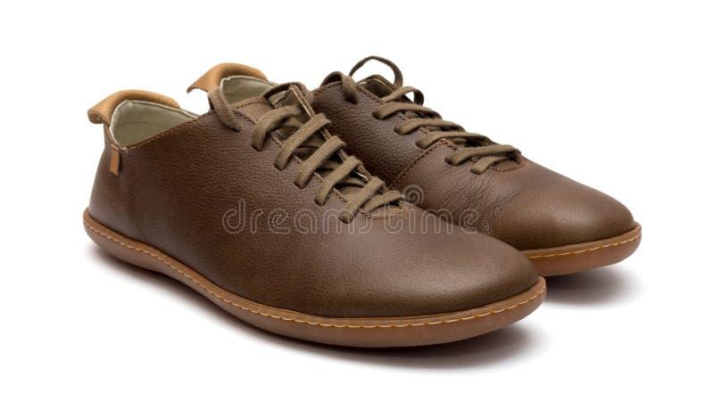 De bruine schoenen van leermensen stock foto
