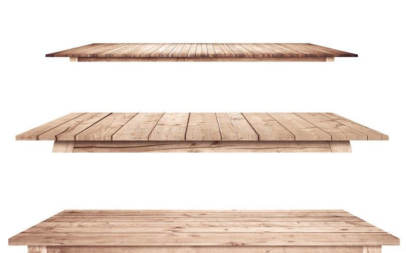 De bruine uitstekende houten keukentafelbladen zijn geïsoleerde witte achtergrond stock afbeeldingen