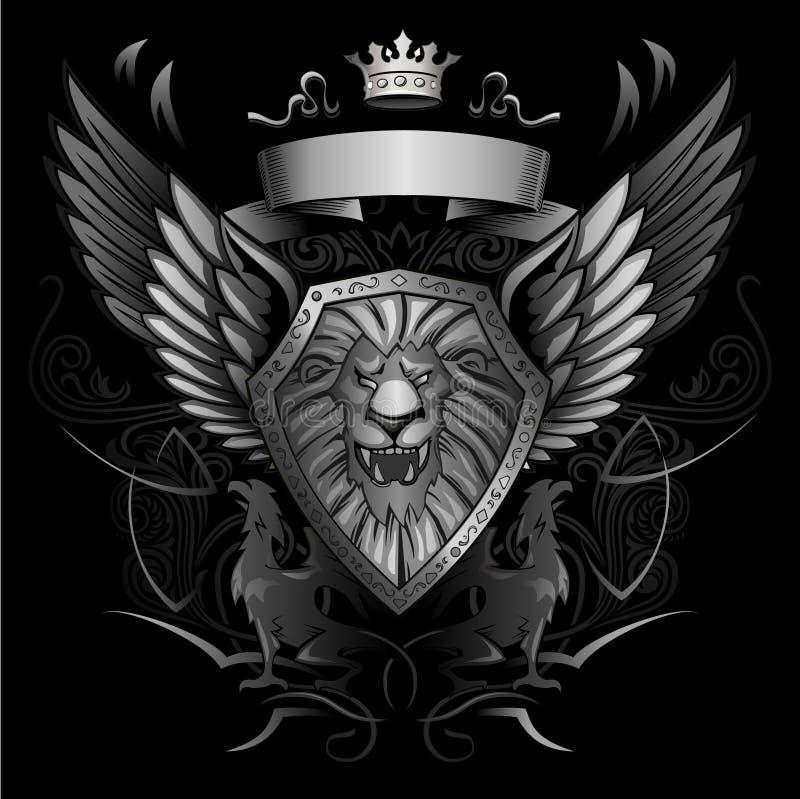 De brullende Insignes van het Schild van de Leeuw Gevleugelde royalty-vrije illustratie