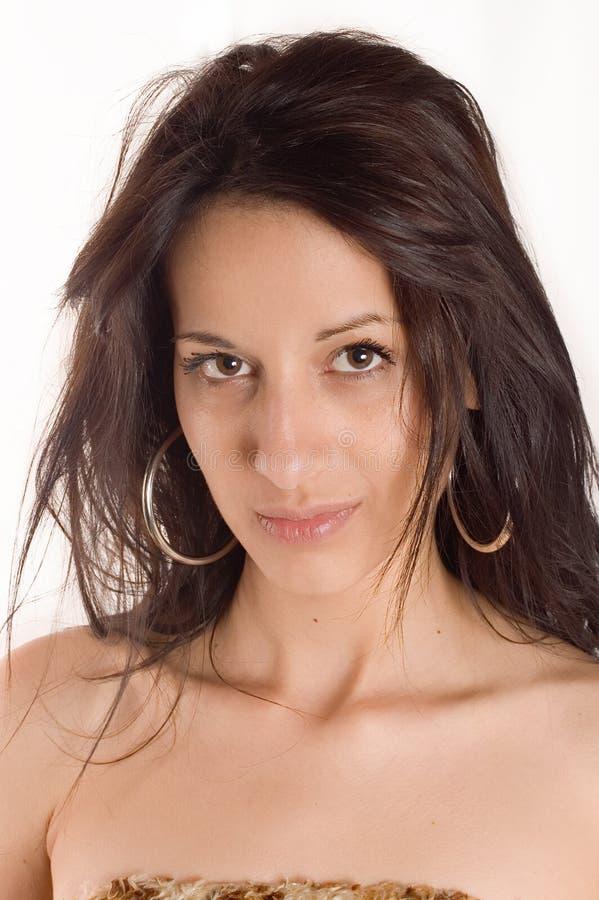 De brunette van het portret stock fotografie