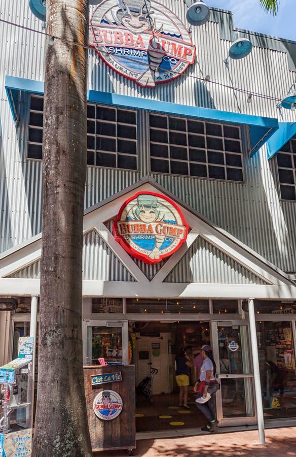 De Bubba Gump-markt Bubba Gump Shrimp Company Restaurant en de Markt zijn een zeevruchtenrestaurant door de film Forr wordt geïns royalty-vrije stock foto