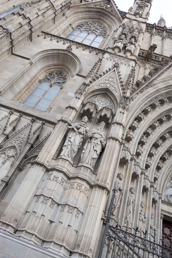 De Buitenkant van Barcelona - Kathedraal stock afbeeldingen