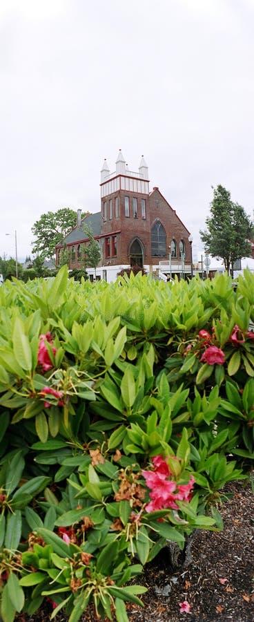 De buitenkant van de kerk stock foto