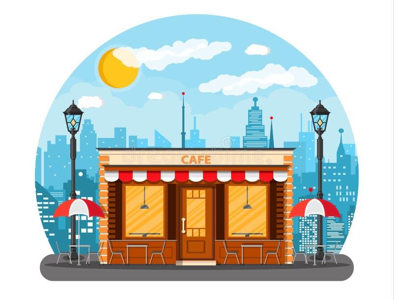 De buitenkant van de koffiewinkel Cityscape stock illustratie