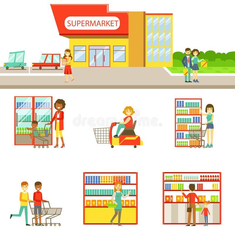 De Buitenkant van de kruidenierswinkelwinkel en Mensen het Winkelen Reeks Illustraties royalty-vrije illustratie