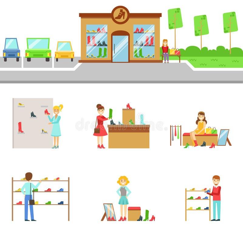 De Buitenkant van de schoeiselopslag en Mensen het Winkelen Reeks Illustraties vector illustratie