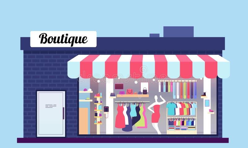 De buitenkant van de manieropslag De boutique van de schoonheidswinkel buiten met storefront en kleren Vector illustratie stock illustratie
