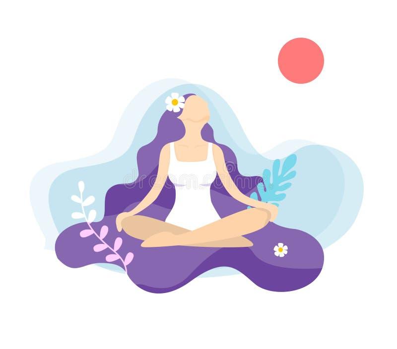 De buitenkant van sporten - yogameisje vector illustratie