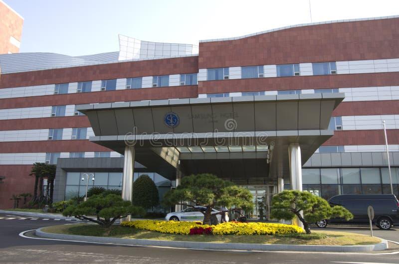 De buitenkanten van het Sumsunghotel stock foto's
