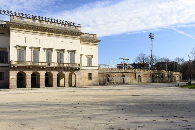De buitenmuur van het arenastadion, Milaan royalty-vrije stock afbeeldingen