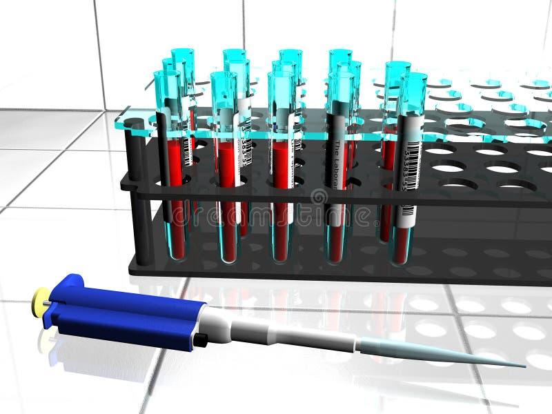 De buizen en de pipet van het laboratorium stock afbeelding