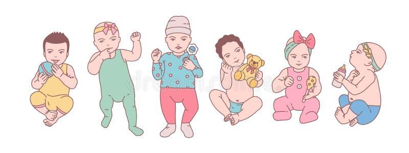 De bundel van leuke pasgeboren babys of kleine kinderen kleedde zich in divers kleren en holdingsspeelgoed en rammelaars Reeks pe vector illustratie