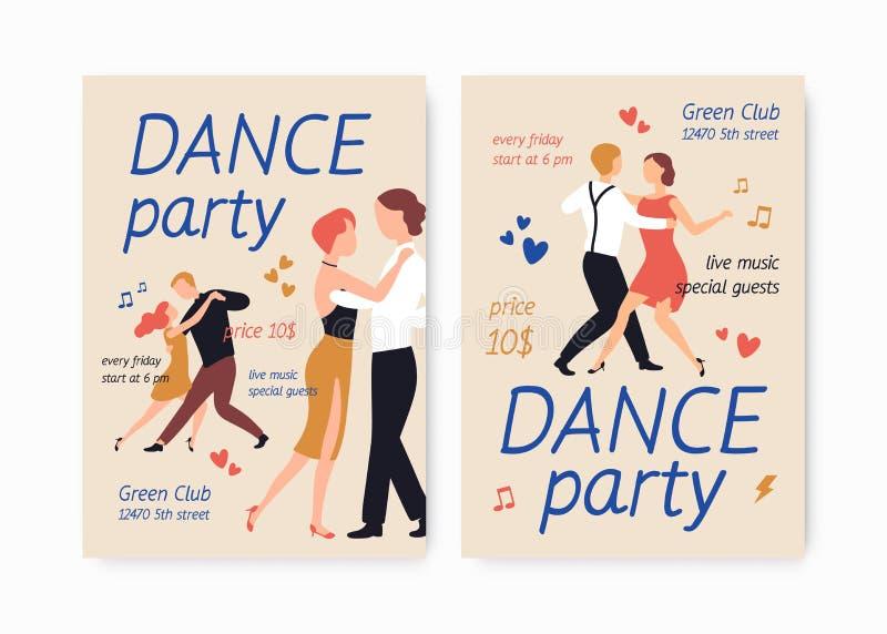 De bundel van vlieger of affichemalplaatjes voor choreografieschool of studio, danspartij, toont of prestaties met paren van stock illustratie