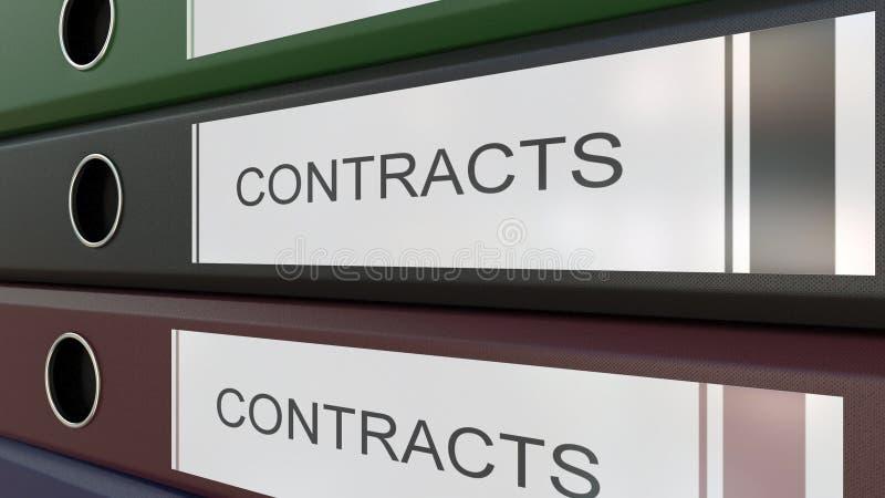 De bureaubindmiddelen met Contracten etiketteert het 3D teruggeven royalty-vrije illustratie