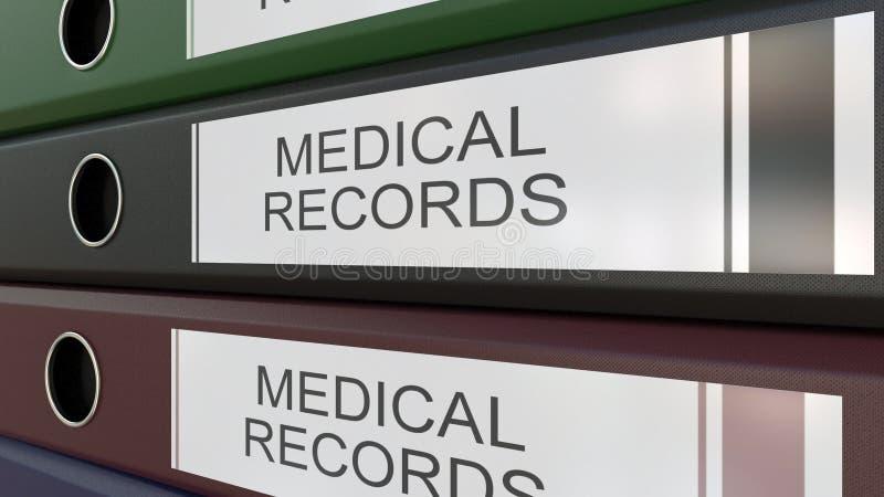 De bureaubindmiddelen met Medische dossiers etiketteert het 3D teruggeven vector illustratie