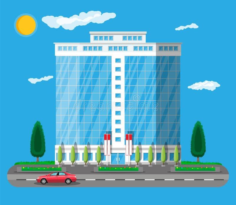 De bureaubouw buitenkant De commerciële Bouw vector illustratie