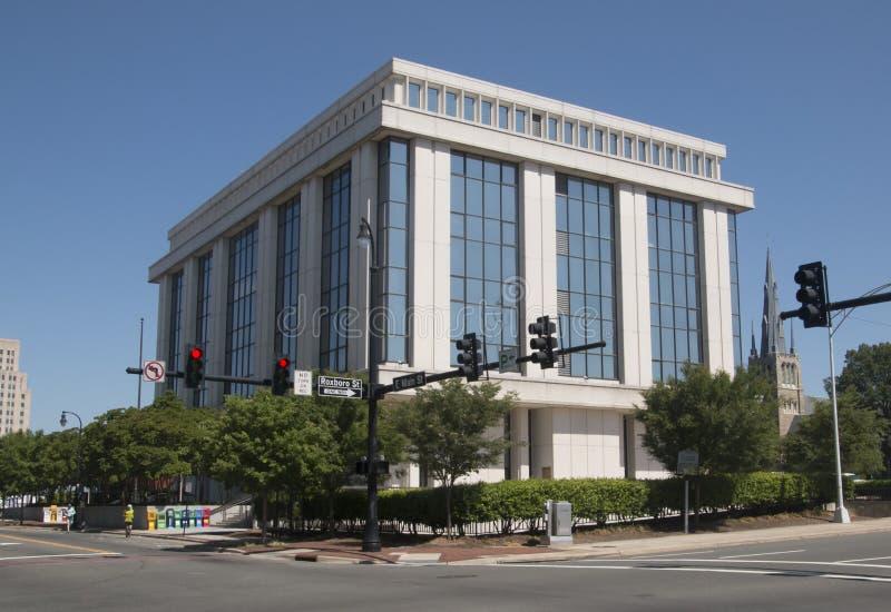 De bureaubouw in Durham, Noord-Carolina royalty-vrije stock afbeeldingen