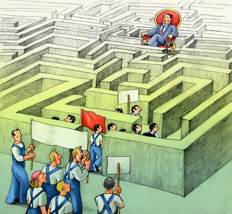De bureaucratie verhindert protest vector illustratie