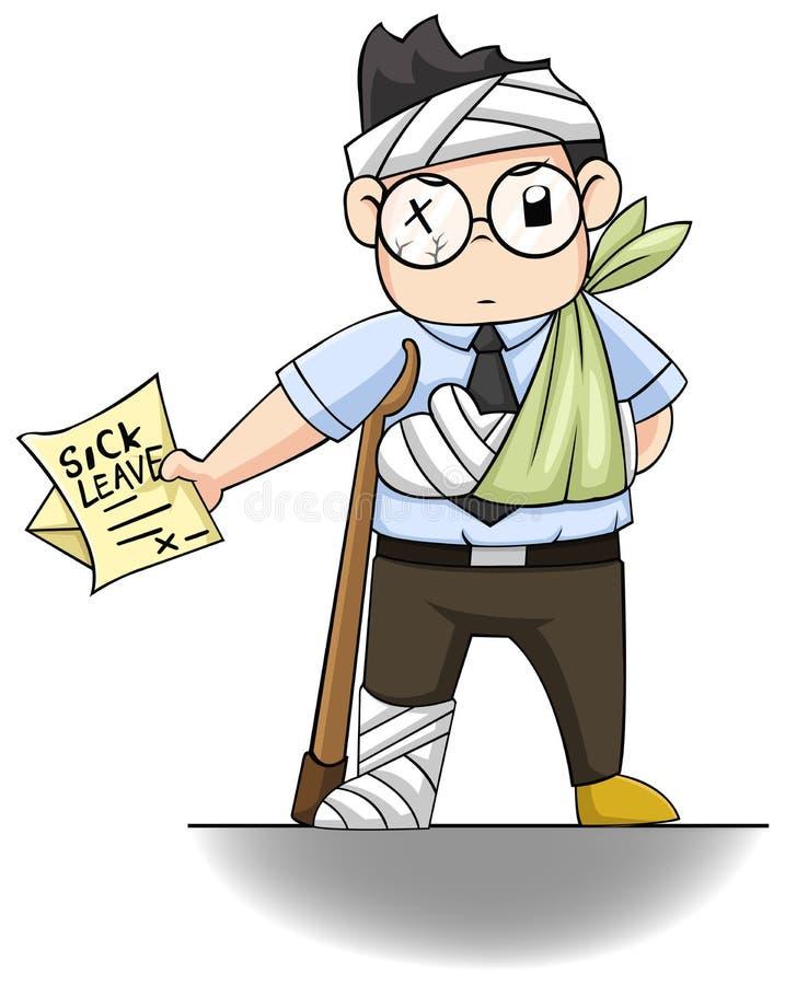 De bureaukerel overhandigt een ziekteverlofbrief voor van hem  stock illustratie