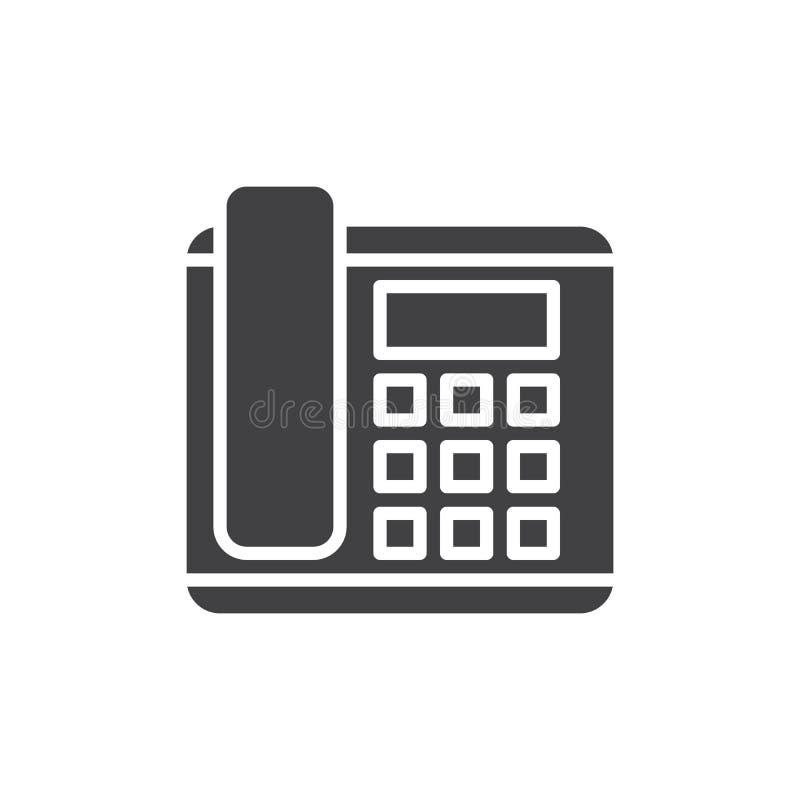 De bureautelefoon, de vector van het telefoonpictogram, vulde vlak teken, stevig die pictogram op wit wordt geïsoleerd vector illustratie