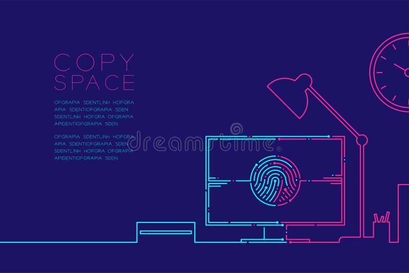 De de bureauwerkplaats en computer met vingerafdruk stormen lijn, Digitaal bureauconceptontwerp, Editable-het blauw van de slagil royalty-vrije illustratie