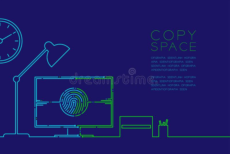 De de bureauwerkplaats en computer met vingerafdruk stormen lijn, Digitaal bureauconceptontwerp, Editable-het blauw van de slagil vector illustratie