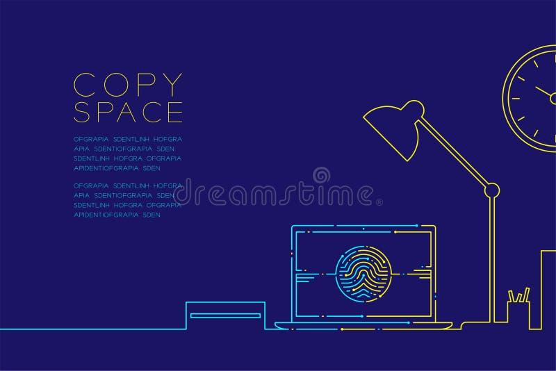 De bureauwerkplaats en laptop de computer met vingerafdruk stormen lijn, Digitaal bureauconceptontwerp, Editable-het blauw van de royalty-vrije illustratie