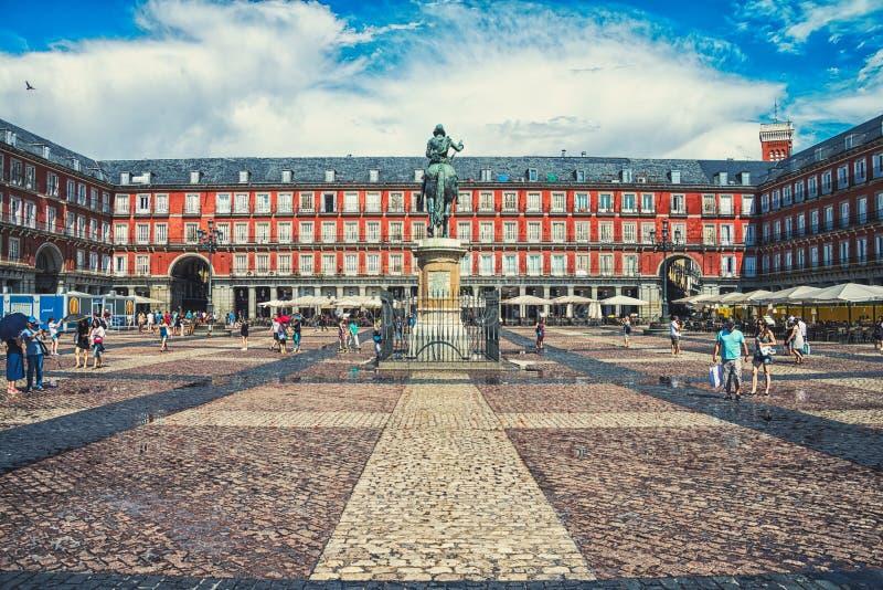 De Burgemeester van het plein in Madrid royalty-vrije stock afbeeldingen