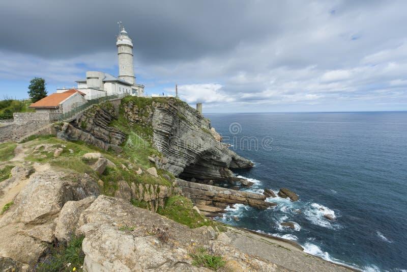De burgemeestervuurtoren van Cabo, Santander stock afbeeldingen