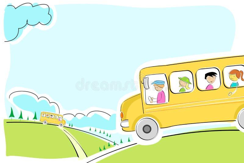 De bus van de school op manier royalty-vrije illustratie