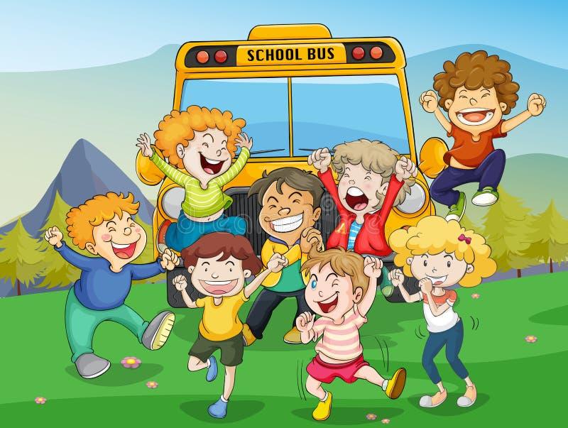 De bus van jonge geitjes en van de school stock illustratie