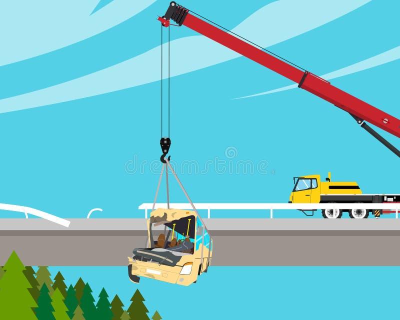 De bus viel van de brug vector illustratie