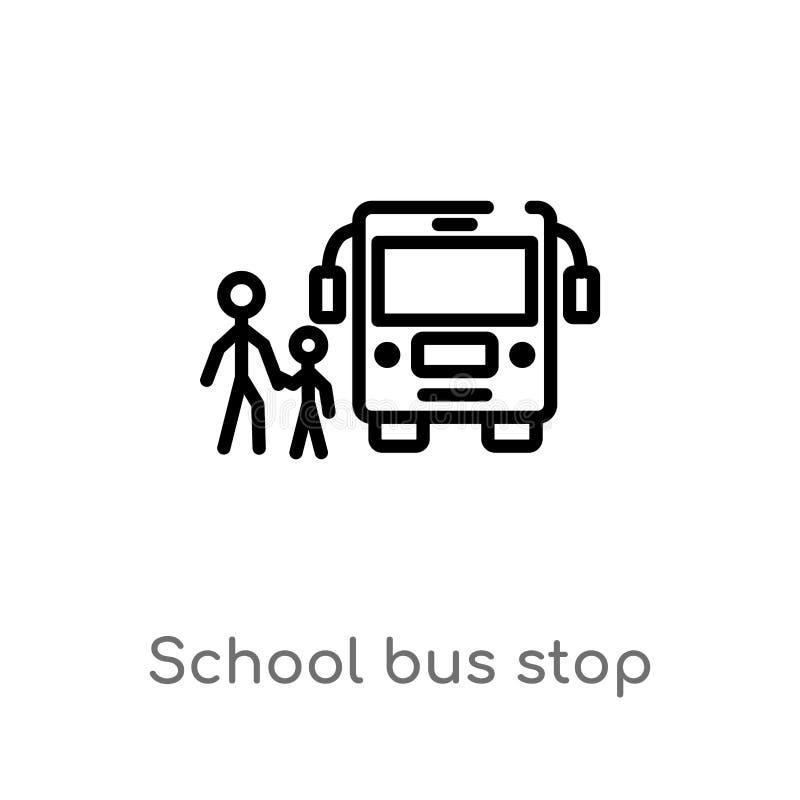 de bushalte vectorpictogram van de overzichtsschool de ge?soleerde zwarte eenvoudige illustratie van het lijnelement van vervoerc vector illustratie