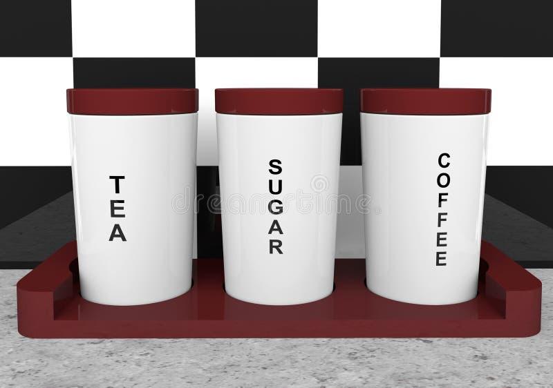 De bussen van de thee, van de koffie en van de suiker stock illustratie