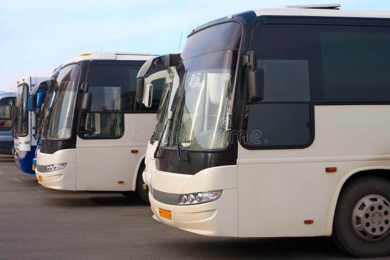 De bussen van de toerist op parkeren stock afbeelding