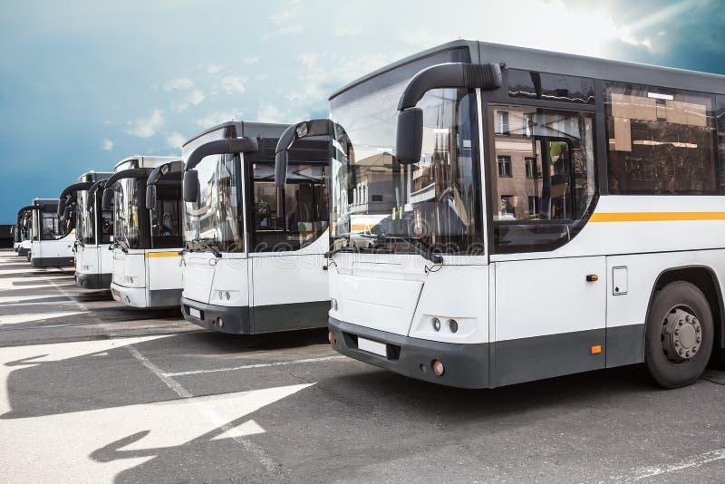 De bussen van de toerist op parkeren stock foto
