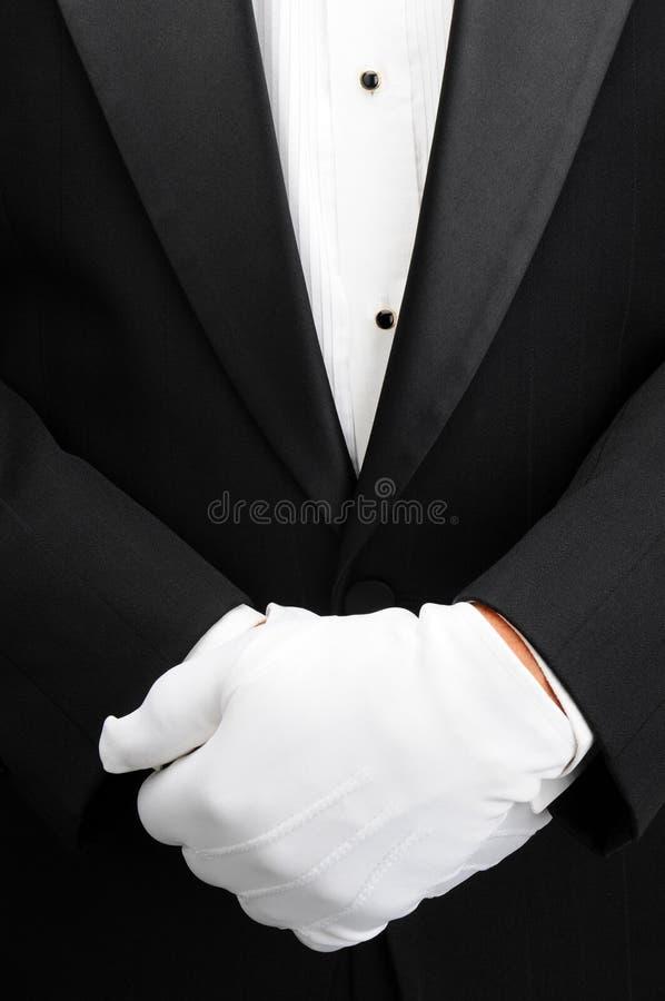 De butler met dient voorzijde van lichaam in stock afbeelding