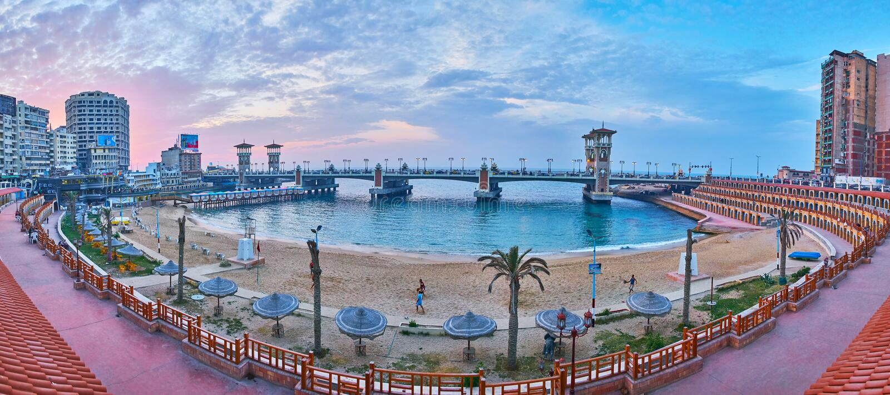 De buurt van Stanley, Alexandrië, Egypte stock afbeeldingen