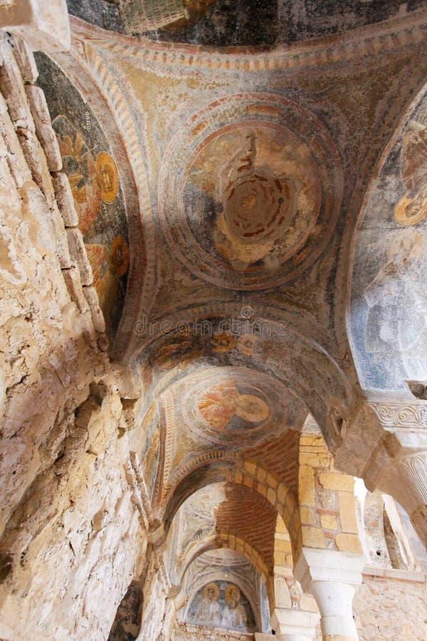 De Byzantijnse Kerk van Mystrasfresko's royalty-vrije stock foto