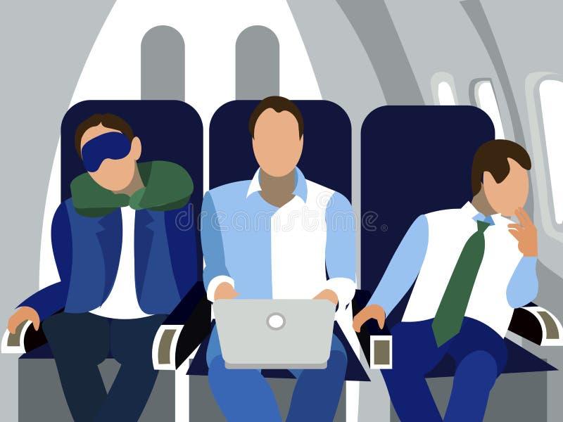 De cabine, passagiers van de vlucht In minimalistische stijl Beeldverhaal vlakke vector royalty-vrije illustratie