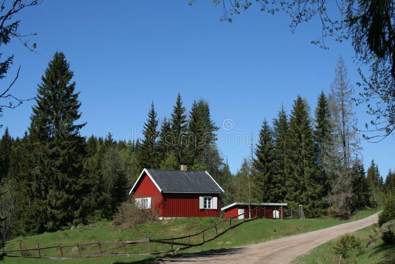 De cabine van de berg in Noorwegen stock fotografie