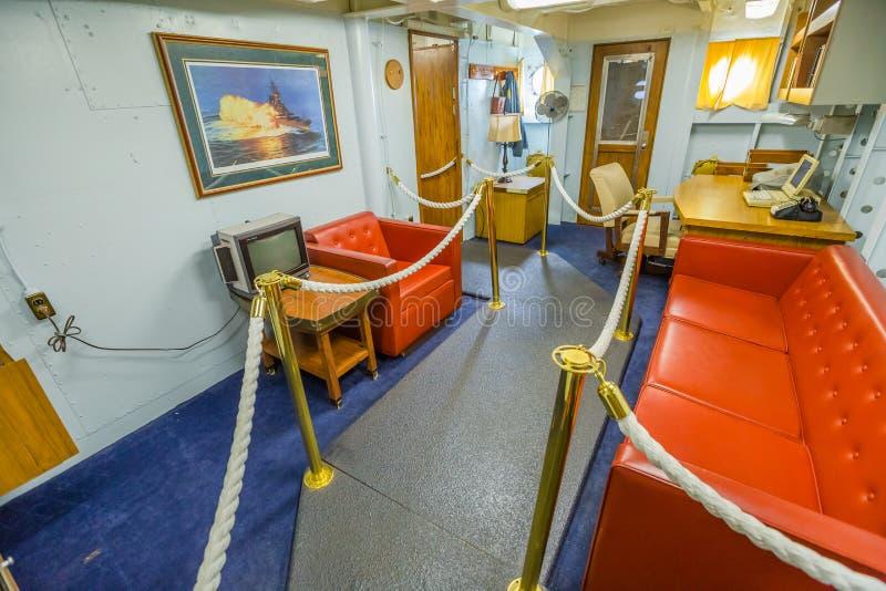 De cabine van de oorlogsschipbevelhebber stock fotografie