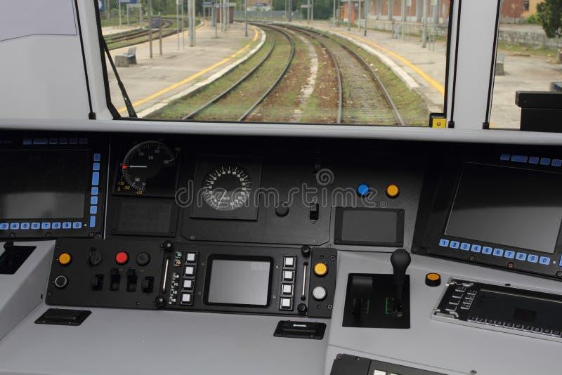De cabine van de treincontrole stock foto's