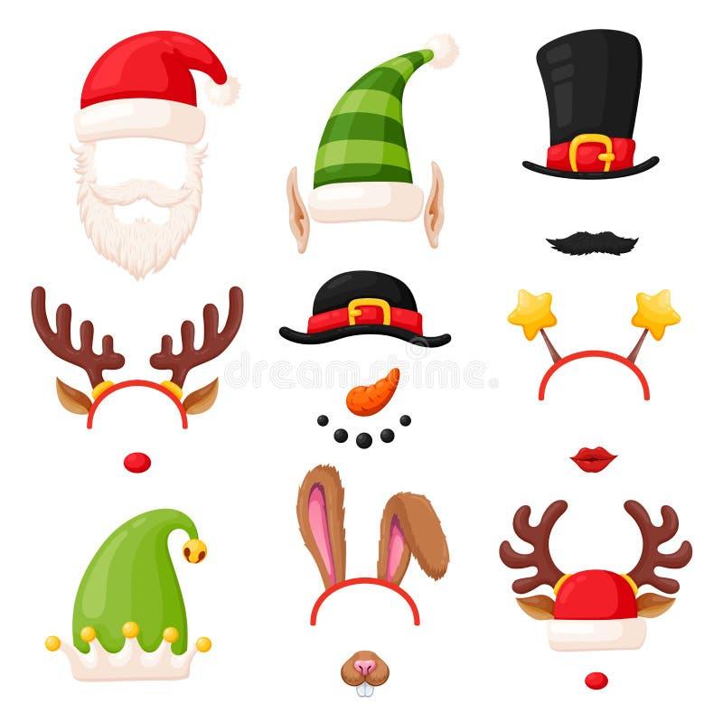 De cabine van de Kerstmisfoto, feestelijk die masker op wit wordt geplaatst stock illustratie