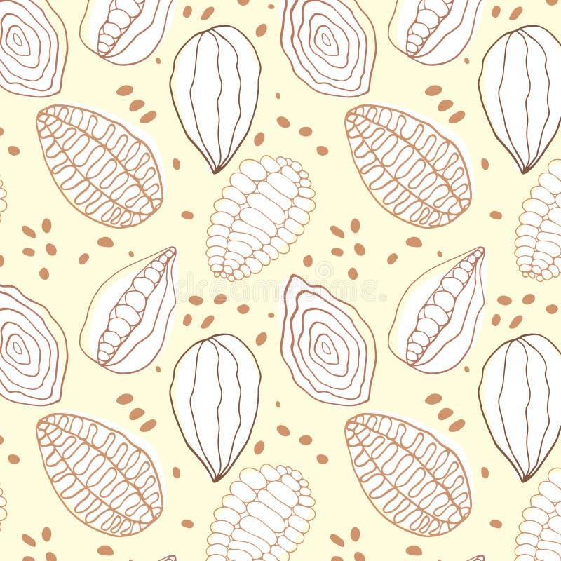 De cacaopatroon van de krabbelvanille stock illustratie