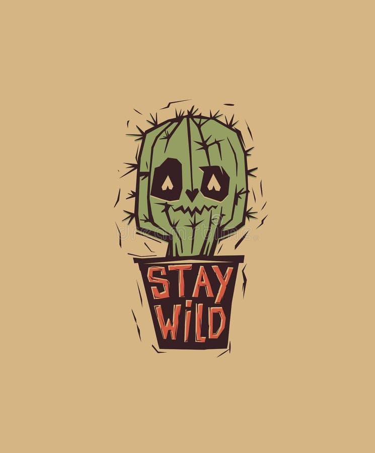 De cactus observé mignon et étrange s'élevant dans le pot avec sauvage de motivation de séjour d'expression écrit là-dessus Perso illustration libre de droits